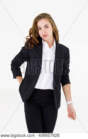 The Image Portrait. Happy Beautiful Caucasian Woman In A Businesswoman Suit, Black Suit, Pickpocket