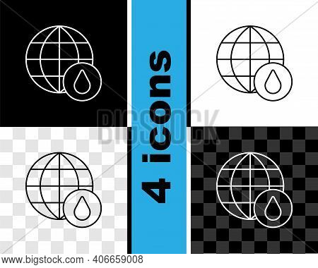 Set Line Earth Planet In Water Drop Icon Isolated On Black And White, Transparent Background. World