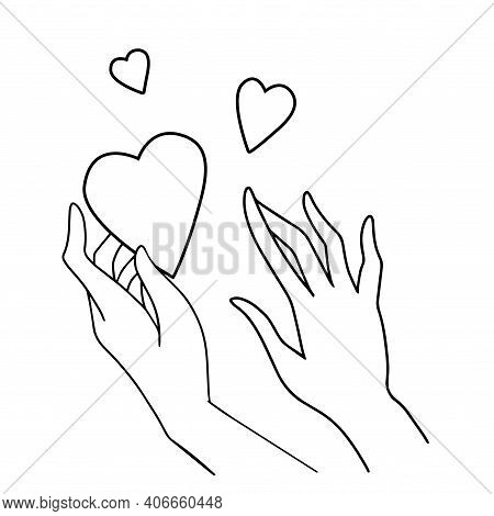 Line Art Vector Illustration Of Love And Compassion. Hands Holding A Heart Black And White Isolated