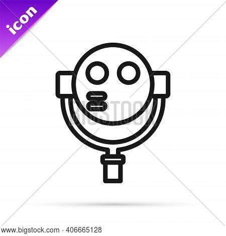 Black Line Tourist Binoculars Icon Isolated On White Background. Binoculars Telescope On The Observa