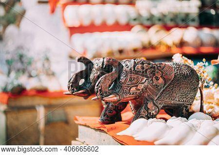 Goa, India. Elephant Souvenir In Market. Popular Souvenir Good For Tourists.