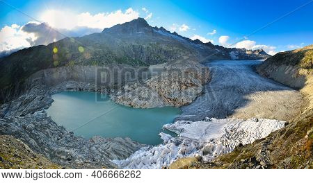 Rhone Glacier And The Mountains In The Canton Of Valais. Eternal Ice Near Furka Pass, Switzerland.vi