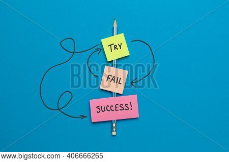 Try - Fail - Success. Purpose And Movement To Success Despite Obstacles.