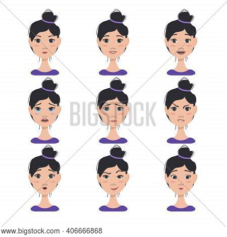 Set Of Facial Expressions Avatars Of An Asian Woman With Dark Hair. Set Of Different Female Emotions