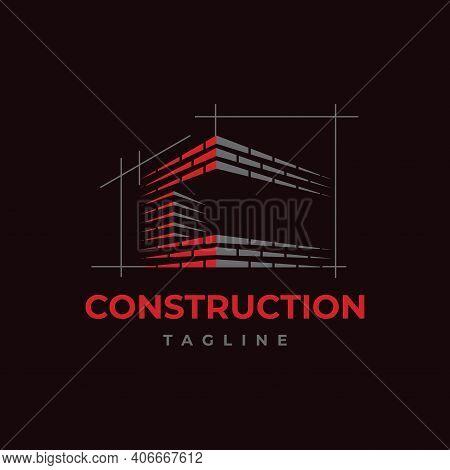 Home Build Symbol Logo Design Vector Template. Brick Work With Letter C Illustration