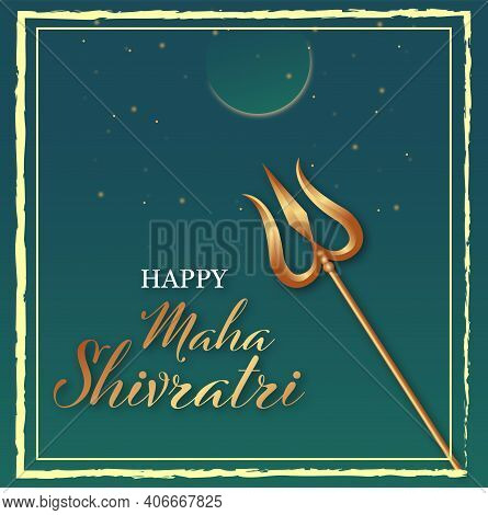 Illustration Of Happy Maha Shivratri. Greeting Card Design. Vector Illustration.