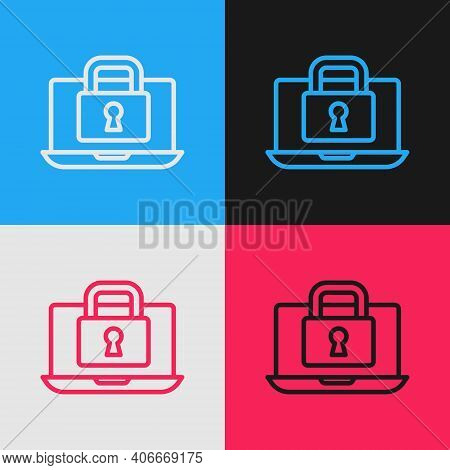 Pop Art Line Laptop And Lock Icon Isolated On Color Background. Computer And Padlock. Security, Safe
