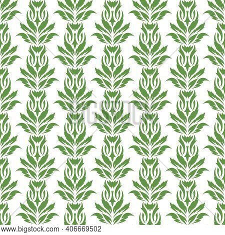 Seamless Background With A Floral Pattern. Green Leaves Of Creepers On A White Background. Spring An