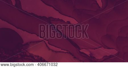 Red Wine Splash. Watercolor Maroon Template. Graphic Burgundy Banner. Bright Maroon Texture. Color W