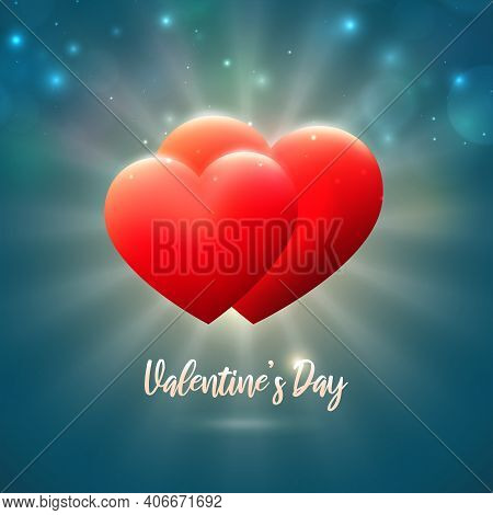 Valentines Day Card, Red Hearts On Blue Background With Bokeh And Lights. Happy Valentine Day Banner