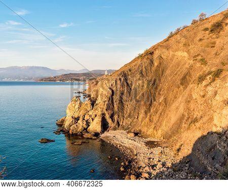 Beautiful Sea Bay Among The Rocks On A Sunny Summer Morning