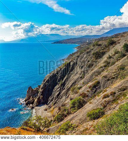 Beautiful Sea Bay Among The Rocks On A Sunny Summer Day