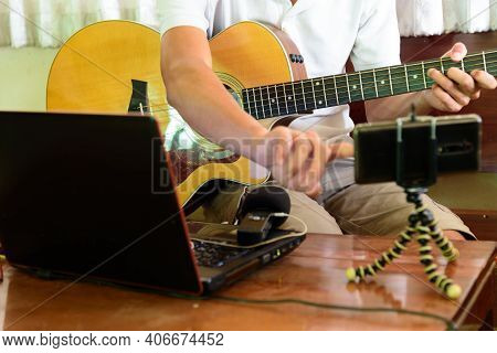 Musician Live Streaming Playing Guitar Show From Home