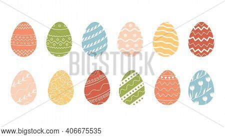 Bundle Of Decorated Easter Eggs Isolated On White Background. Collection Of Colored Symbols For Reli