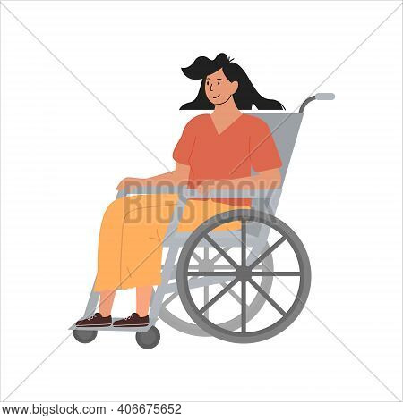 Modern Young Disabled Woman On Wheelchair. Smiling Handicapped Girl Character Isolated On White. Reh