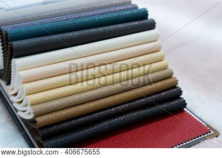 Catalog Of Multicolored Imitation Leather. Leatherette Samples Texture.