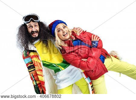 Ski style shoot of a funny young couple
