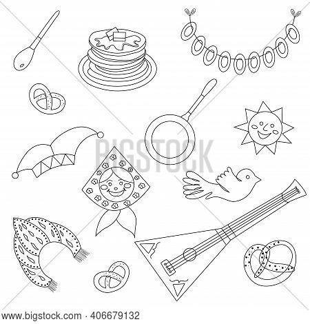 Maslenitsa Doodle. Shrovetide. Maslenitsa Elements - Pancake, Balalaika, Sun, Bagels, Kokoshnik. Pan