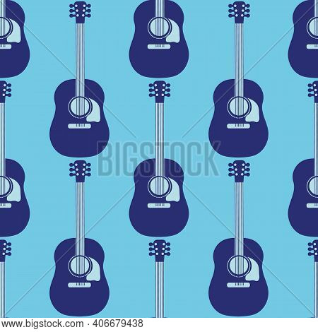 Acoustic Guitar Vector Seamless Pattern Background. Dark And Light Blue Musical String Instrument Du