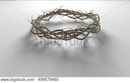 Branches Of Thorns Woven Into A Crown Depicting The Crucifixion Casting A Shadow On Isolated White B