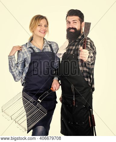 Couple In Love Getting Ready For Barbecue. Picnic And Barbecue. Summertime Leisure. Man Bearded Hips