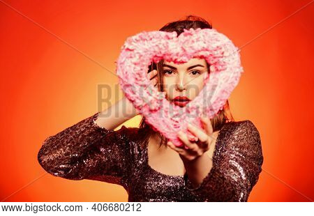 Love And Romance. Woman Gorgeous Fashion Model Hold Heart Valentines Decoration. Happy Valentines Da