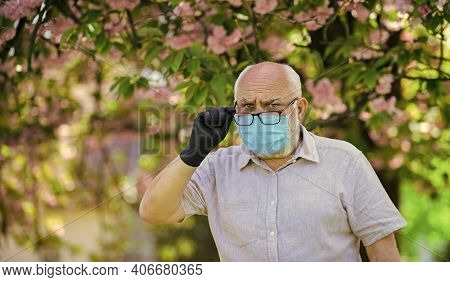 Older People At Highest Risk From Covid-19. Limit Risk Infection Spreading. Senior Man Wearing Face