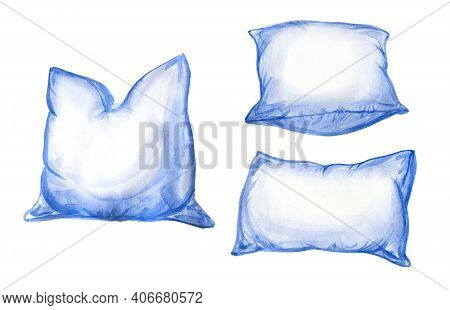 Pillows Set Watercolor Illustration. Pillows With Clean White Pillow Cases. Isolated On White Backgr