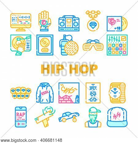 Hip Hop And Rap Music Collection Icons Set Vector