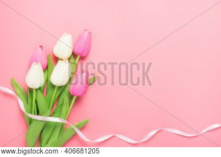 Spring Flowers Bunch Of Pink And White Tulips On The Pink Background With Free Space For Text. Mothe
