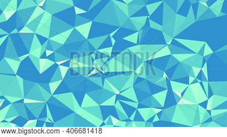 Abstract Blue Triangle Background. Colorful Gradient Mosaic Backdrop. Geometric Background For Desig