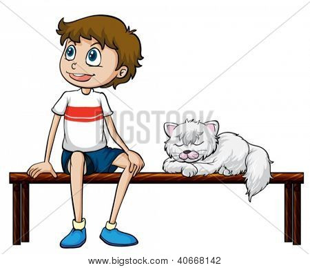 Illustration of a smiling boy and cat sitting on a bench on a white background