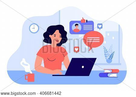 Happy Woman Chatting Or Dating With Boyfriend Online Flat Vector Illustration. Cartoon Young Lady Se