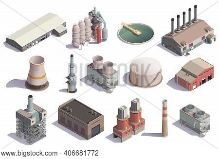 Industrial Buildings Isometric Icons Set With Isolated Images Of Factory Facilities For Different Pu