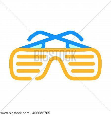 Sunglasses Rapper Stylish Accessory Color Icon Vector Illustration