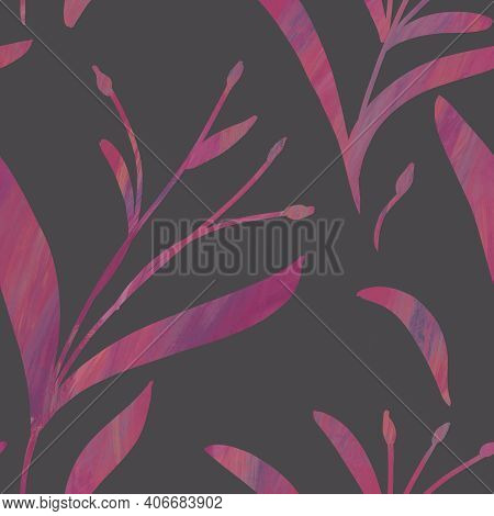Seamless Pattern With Hand-drawn Shining Pink Gradient Branches On Gray Background. Linen, Bedclothi