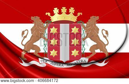 3d Flag Of Gouda (south Holland), Netherlands. 3d Illustration.