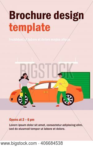 Car Wash Service. Woman Rubbing Vehicle With Cloth In Garage, Male Driver Flat Vector Illustration.
