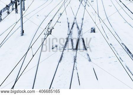 Railway Top View Background. Train Track Texture. White Transportation Background. Winter Landscape.