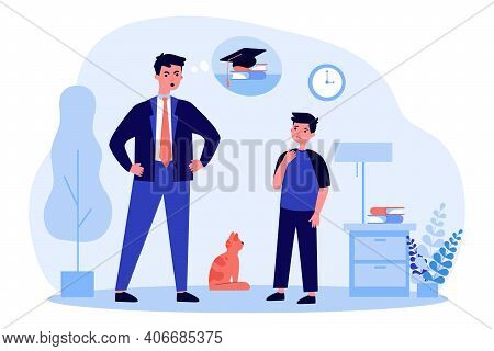Angry Father Talking With Son About Poor Study. School, Pupil, Dad Flat Vector Illustration. Family