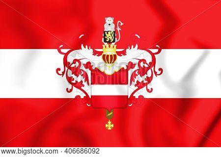 3d Flag Of Leuven (flemish Brabant), Belgium. 3d Illustration.