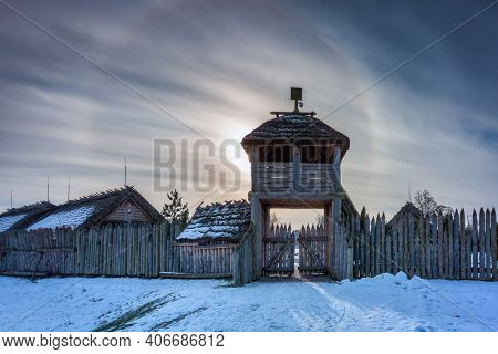 Halo effect around the sun at the settlement of Trade Factory, Pruszcz Gdanski. Poland
