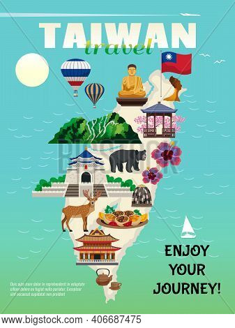 Taiwan Travel Country Cultural Map Flat Advertisement Poster With National Food Sightseeing Landmark