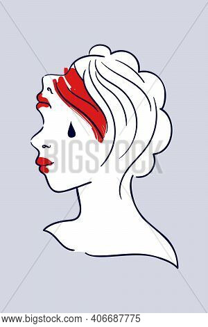 Female Mental Health - Minimalist Vector Illustration. Surreal Portrait Of Double Face Woman With Fa