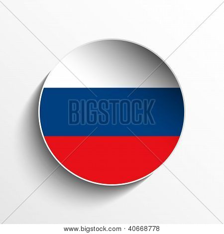 Russia Flag Paper Circle Shadow Button