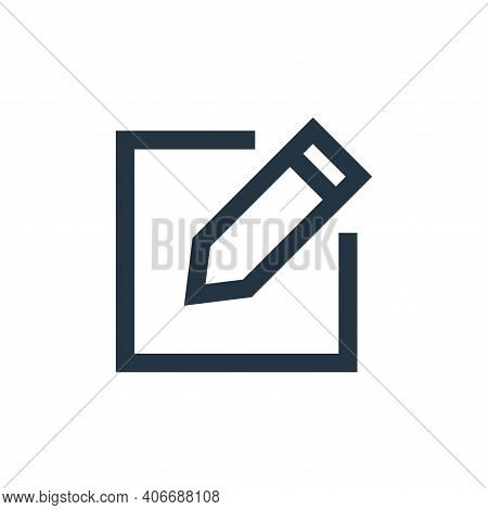 write icon isolated on white background from email collection. write icon thin line outline linear w