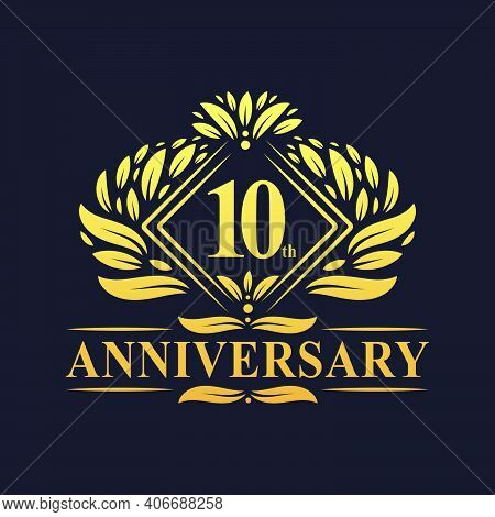 10 Years Anniversary Logo, Luxury Floral Golden 10th Anniversary Logo.