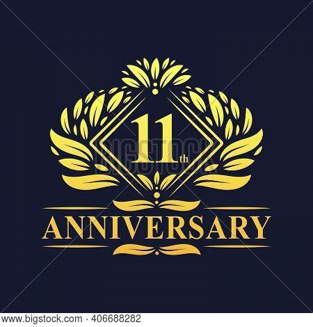 11 Years Anniversary Logo, Luxury Floral Golden 11th Anniversary Logo.