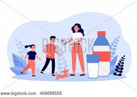 Smiling Mother Giving Milk In Bottles To Children. Beverage, Dog, Calcium Flat Vector Illustration.