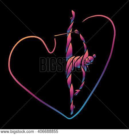 Creative Silhouette Of Gymnastic Girl. Art Gymnastics With Ribbon